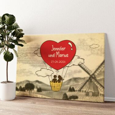 Liebesflug Wandbild personalisiert