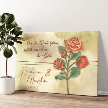 Liebesrose Wandbild personalisiert