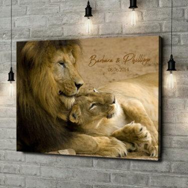 Leinwandbild personalisiert Lion Love