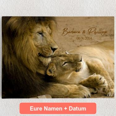 Personalisiertes Leinwandbild Lion Love