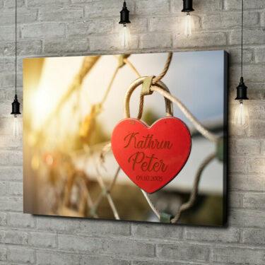 Leinwandbild personalisiert Locked Love