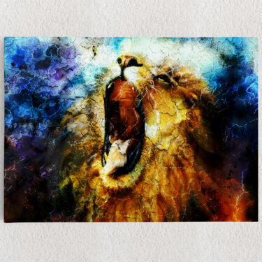 Personalisiertes Leinwandbild Löwe Abstrakt