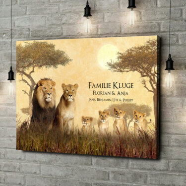 Leinwandbild personalisiert Löwenfamilie