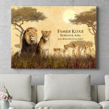 Personalisierbares Geschenk Löwenfamilie