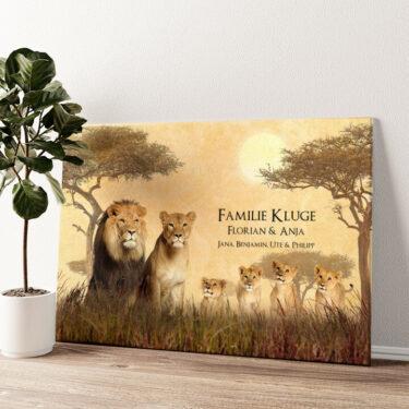 Löwenfamilie Wandbild personalisiert