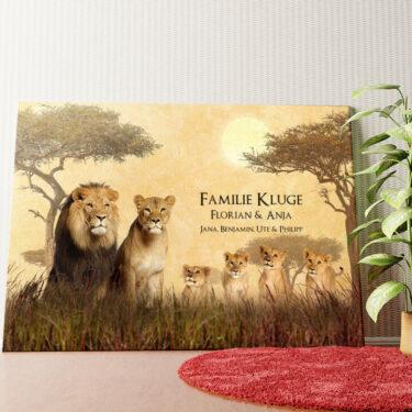 Personalisiertes Wandbild Löwenfamilie