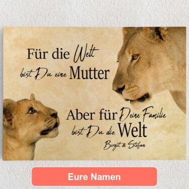 Personalisiertes Leinwandbild Löwenmutter 2 (Querformat)