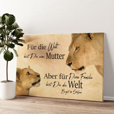 Löwenmutter 2 (Querformat) Wandbild personalisiert
