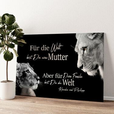 Löwenmutter (Querformat) Wandbild personalisiert