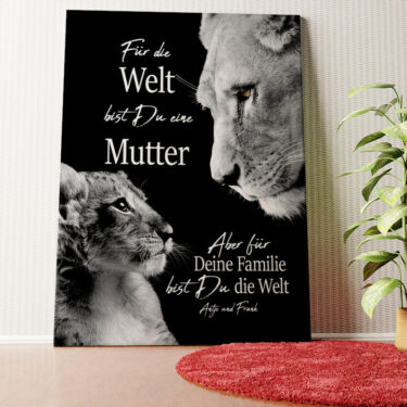 Personalisiertes Wandbild Löwenmutter