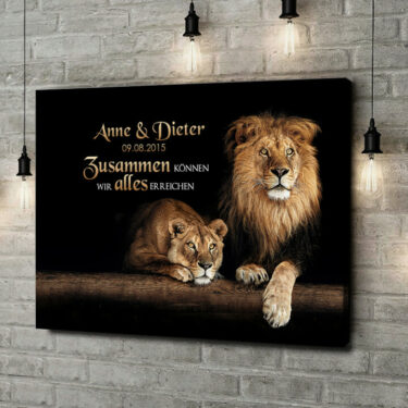 Leinwandbild personalisiert Löwenpaar