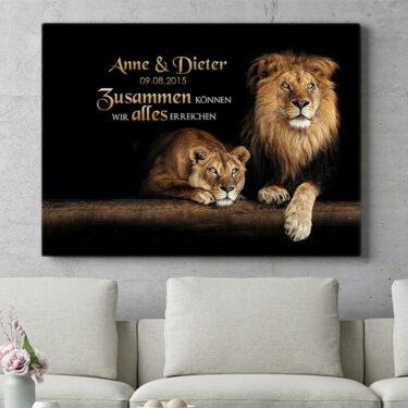 Personalisierbares Geschenk Löwenpaar