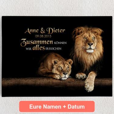 Personalisiertes Leinwandbild Löwenpaar