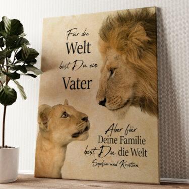 Löwenvater 2 Wandbild personalisiert