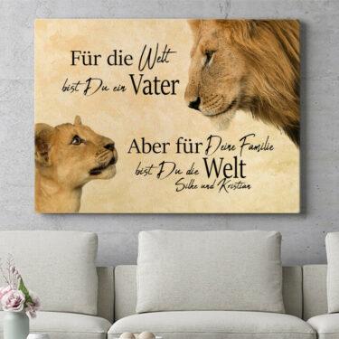 Personalisierbares Geschenk Löwenvater 2 (Querformat)