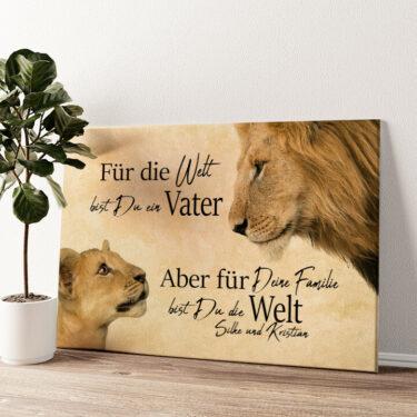 Löwenvater 2 (Querformat) Wandbild personalisiert