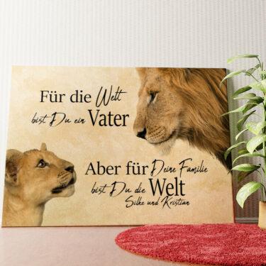 Personalisiertes Wandbild Löwenvater 2 (Querformat)