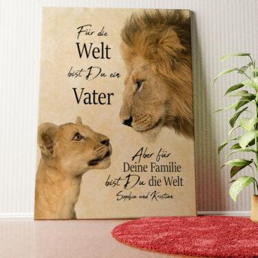 Personalisiertes Wandbild Löwenvater 2