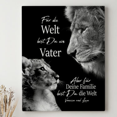 Leinwandbild personalisiert Löwenvater