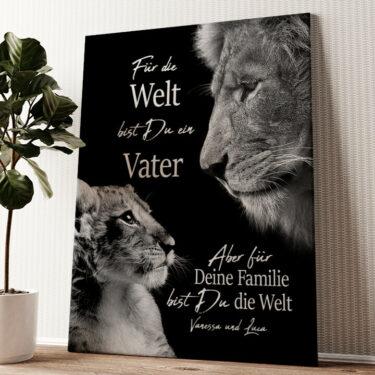 Löwenvater Wandbild personalisiert