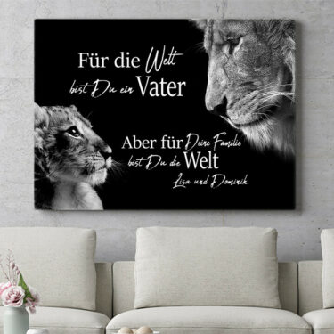Personalisierbares Geschenk Löwenvater (Querformat)