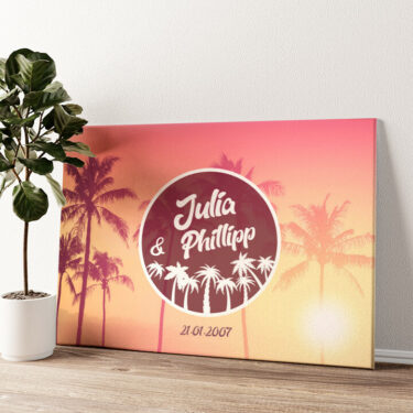 Love Below Palms Wandbild personalisiert