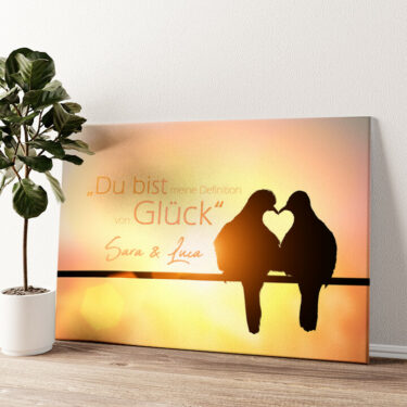 Love Birds Wandbild personalisiert