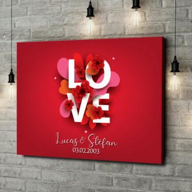 Leinwandbild personalisiert LOVE