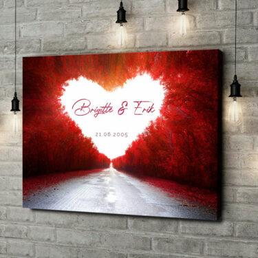 Leinwandbild personalisiert Love Road
