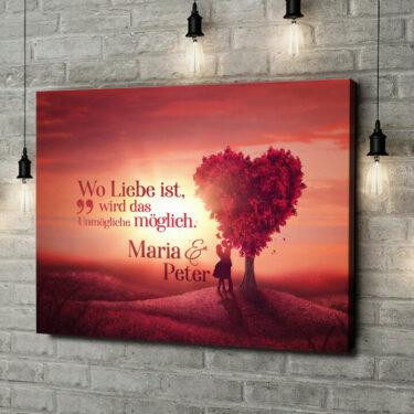 Leinwandbild personalisiert Love Tree