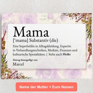 Personalisiertes Leinwandbild Mama Definition