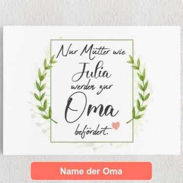 Personalisiertes Leinwandbild Mama wird Oma