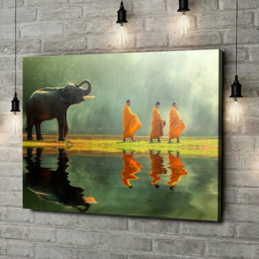 Leinwandbild personalisiert Mönche mit Elefant
