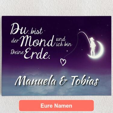 Personalisiertes Leinwandbild Moon Love