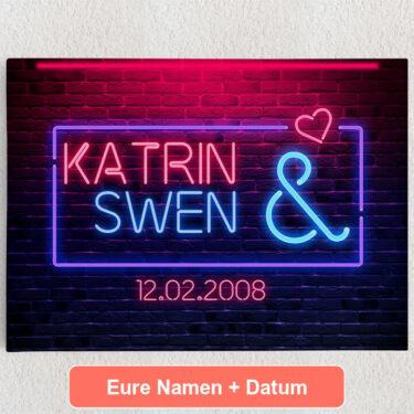 Personalisiertes Leinwandbild Neon Love