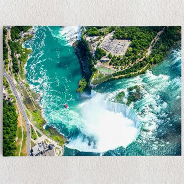 Personalisiertes Leinwandbild Niagara Wasserfälle Luftaufnahme