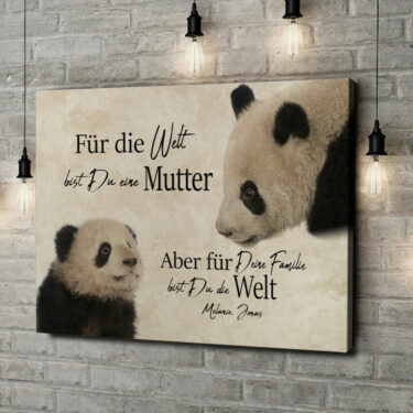 Leinwandbild personalisiert Pandamutter