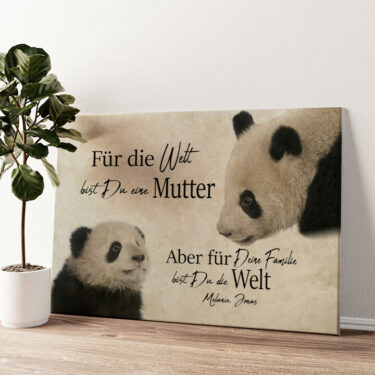 Pandamutter Wandbild personalisiert