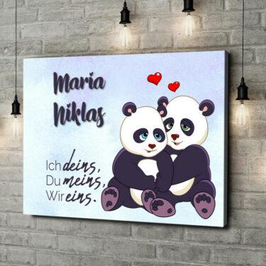 Leinwandbild personalisiert Pandas