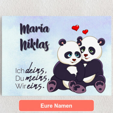 Personalisiertes Leinwandbild Pandas