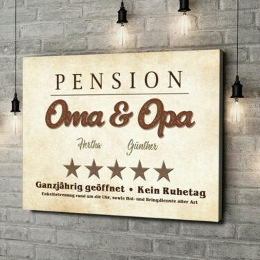 Leinwandbild personalisiert Pension Oma & Opa