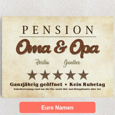 Personalisiertes Leinwandbild Pension Oma & Opa