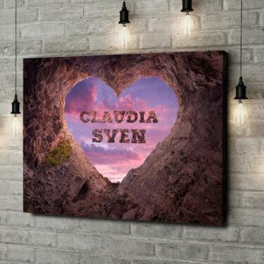 Leinwandbild personalisiert Rock Solid Love