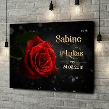 Leinwandbild personalisiert Rose der Liebe