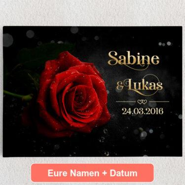 Personalisiertes Leinwandbild Rose der Liebe