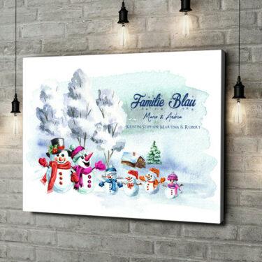 Leinwandbild personalisiert Schneemannfamilie