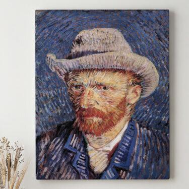 Leinwandbild personalisiert Selbstportrait mit Filzhut