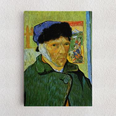 Personalisiertes Leinwandbild Selbstportrait mit Pelzmütze und verbundenem Ohr