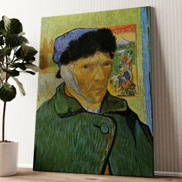 Selbstportrait mit Pelzmütze und verbundenem Ohr Wandbild personalisiert