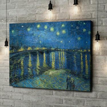 Leinwandbild personalisiert Sternennacht über der Rhone